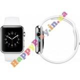 Apple Watch 38mm Stainless Steel Case with White Sport Band (MJ302LL/A)